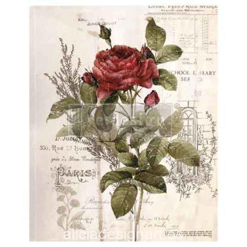 Transferencia calcomanía para decoración de gran formato, Botanical Rose - Taller decoración de muebles antiguos Alicia Designart Madrid.
