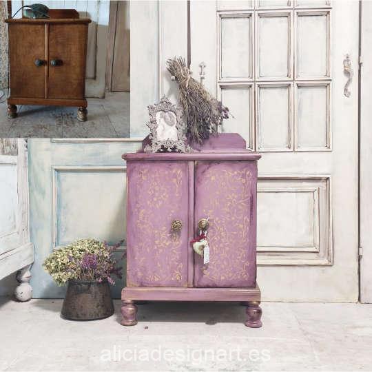 Otro ejemplo de mueble decorado con el stencil AS414 - Taller decoración de muebles antiguos Madrid estilo Shabby Chic, Provenzal, Romántico, Nórdico