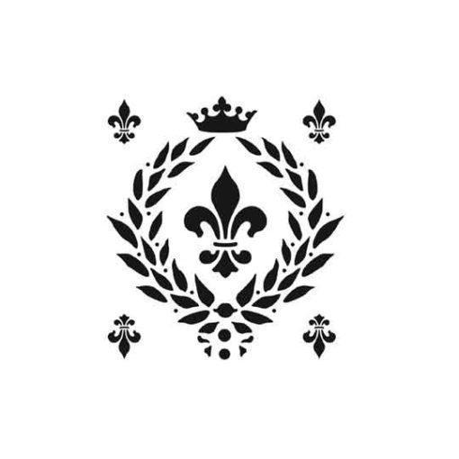 Plantilla de stencil estarcido Flor de lis de Cadence Home Decor HDM05 - Taller decoración de muebles antiguos Madrid estilo Shabby Chic, Provenzal, Romántico, Nórdico