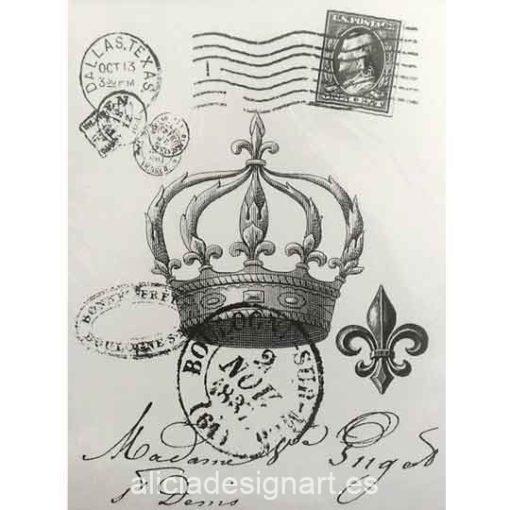 Papel para transfer sobre tejido Corona y Sellos de Cadence ref FT016 - Taller decoración de muebles antiguos Madrid estilo Shabby Chic, Provenzal, Romántico, Nórdico