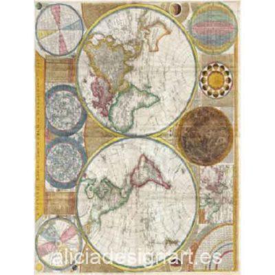 Papel de arroz Mapamundi de Cadence ref 888444 - Taller decoración de muebles antiguos Madrid estilo Shabby Chic, Provenzal, Romántico, Nórdico