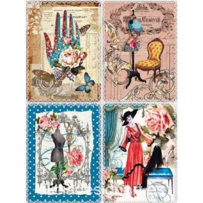 Papel de arroz Postales Costura Vintage de Cadence ref 888367 - Taller decoración de muebles antiguos Madrid estilo Shabby Chic, Provenzal, Romántico, Nórdico