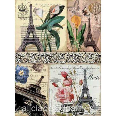 Papel de arroz Postales Eiffel de Cadence ref 888370 - Taller decoración de muebles antiguos Madrid estilo Shabby Chic, Provenzal, Romántico, Nórdico