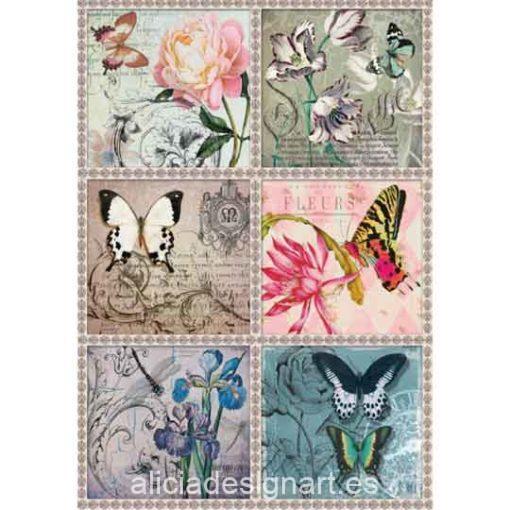 Papel de arroz Postales Mariposas de Cadence ref 888198 - Taller decoración de muebles antiguos Madrid estilo Shabby Chic, Provenzal, Romántico, Nórdico