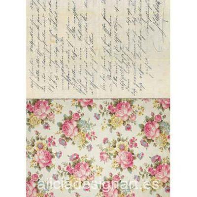 Papel de arroz Rosas y Carta de Cadence ref PA518 - Taller decoración de muebles antiguos Madrid estilo Shabby Chic, Provenzal, Romántico, Nórdico