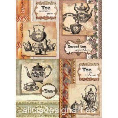 Papel de arroz Sweet Tea de Cadence ref PA374 - Taller decoración de muebles antiguos Madrid estilo Shabby Chic, Provenzal, Romántico, Nórdico