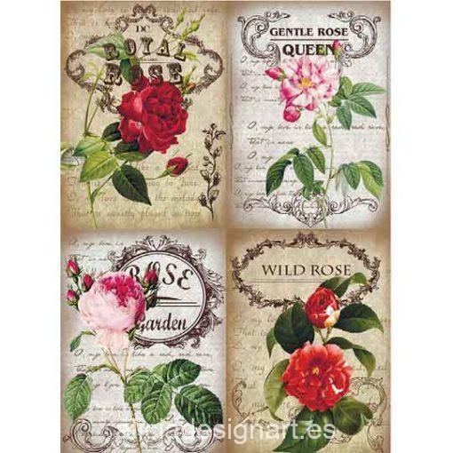 Papel de arroz Wild Rose de Cadence ref PA277 - Taller decoración de muebles antiguos Madrid estilo Shabby Chic, Provenzal, Romántico, Nórdico