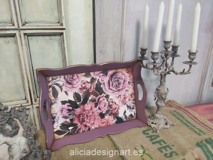 Bandeja decorada con el papel de arroz collage de hortensias rosas de Cadence ref PA741 - Taller decoración de muebles antiguos Madrid estilo Shabby Chic, Provenzal, Romántico, Nórdico