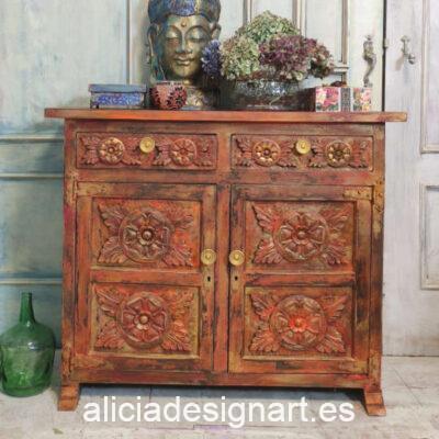 Aparador Vintage decorado estilo Boho Chic de inspiración Oriental - Taller decoración de muebles antiguos Alicia Designart Madrid.