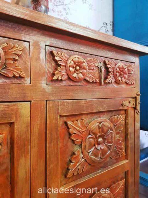 Aparador Vintage decorado estilo Boho Chic de inspiración Oriental, opción de cuadro a juego - Taller decoración de muebles antiguos Alicia Designart Madrid.