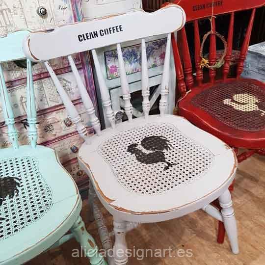Silla Windsor vintage estilo farmhouse color Hueso Antiguo con stencils - Taller de decoración de muebles antiguos Madrid estilo Shabby Chic, Provenzal, Romántico, Nórdico