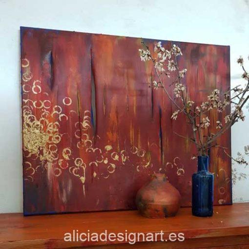 Golden Rings, cuadro original abstracto, pintado a mano por Alicia Dominguez Lopez - Taller de decoración de muebles antiguos en Madrid