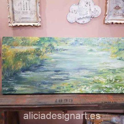 Cuadro decorativo con nenúfares, realizado a óleo y pintado a mano por Alicia Domínguez López - Taller decoración de muebles antiguos Madrid estilo Shabby Chic, Provenzal, Romántico, Nórdico