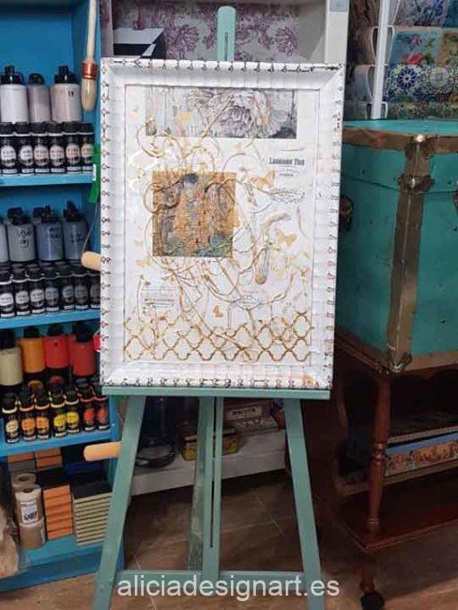 Cuadro decorativo reciclado y enmarcado con découpage y texturas mixmedia - Taller decoración de muebles antiguos Madrid estilo Shabby Chic, Provenzal, Romántico, Nórdico