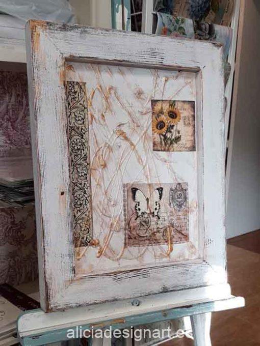 Cuadro decorativo con técnicas mixtas, marco madera, Shabby Dreams - Taller decoración de muebles antiguos Madrid estilo Shabby Chic, Provenzal, Romántico, Nórdico