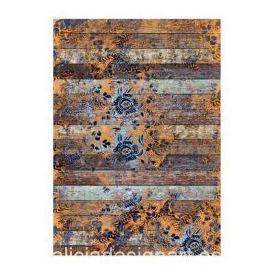 Papel de arroz tablas naranja añil desgastadas de Cadence ref PA552 - Taller decoración de muebles antiguos Madrid estilo Shabby Chic, Provenzal, Romántico, Nórdico