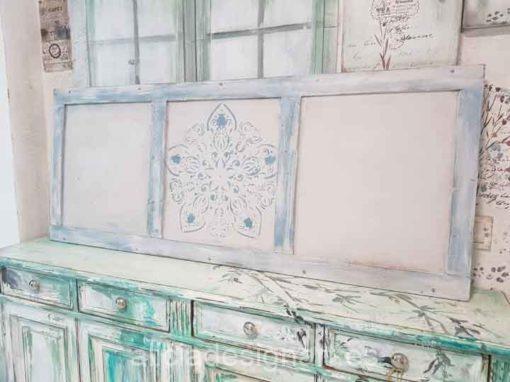 Cabecero con mandala decorado estilo Boho Chic Vintage azul y blanco - Taller de decoración de muebles antiguos Alicia Designart Madrid