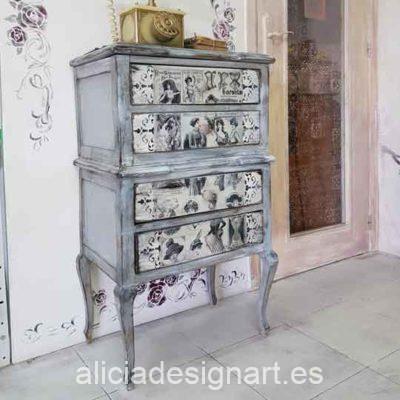 Sinfonier 4 cajones de madera maciza decorado estilo Shabby Vintage - Taller de decoración de muebles antiguos Madrid. Muebles de colores, productos y cursos.