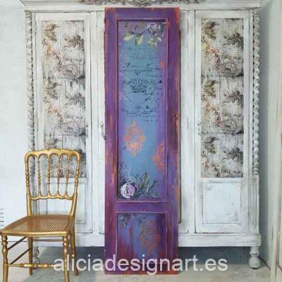 Puerta antigua decorada estilo Boho Chic con stencil, découpage y flores pintadas a mano alzada - Taller decoración de muebles antiguos Alicia Designart Madrid.