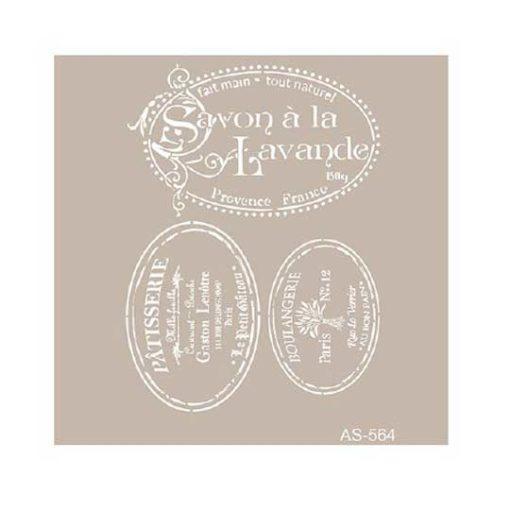 Plantilla de stencil estarcido con sello Savon Lavande de Cadence AS564 - Taller decoración de muebles antiguos Madrid estilo Shabby Chic, Provenzal, Romántico, Nórdico