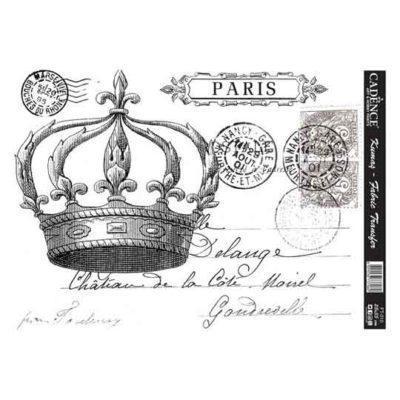 Papel para transfer sobre tejido Corona Paris de Cadence ref FT010 - Taller decoración de muebles antiguos Madrid estilo Shabby Chic, Provenzal, Romántico, Nórdico