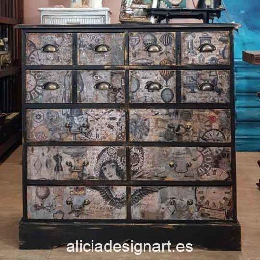 Aparador Vintage decorado estilo Steampunk Industrial, opción de lámpara industrial - Taller decoración de muebles antiguos Alicia Designart Madrid.