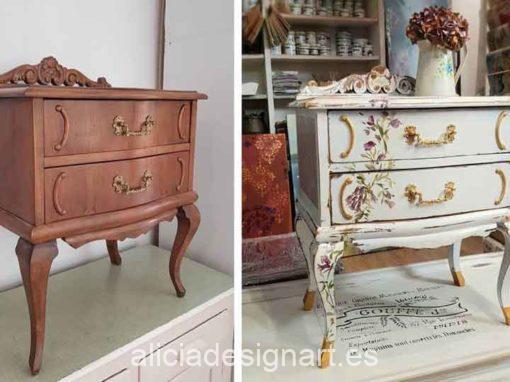 """Mesita francesa decorada estilo Shabby Chic con flores pintadas a mano alzada """"Juliette"""" - Taller de decoración de muebles antiguos Madrid. Muebles de colores, productos y cursos."""