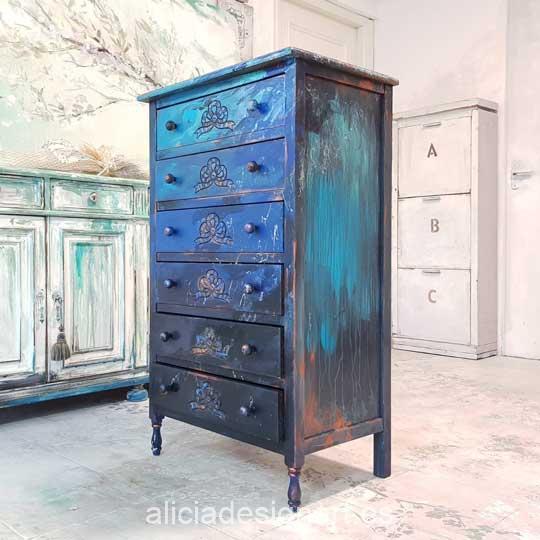 Sinfonier vintage 6 cajones decorado estilo Boho Chic con degradado de azules - Taller de decoración de muebles antiguos Madrid. Muebles de colores, productos y cursos.