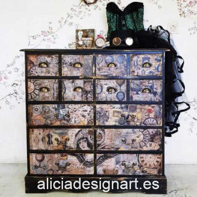 Aparador Vintage decorado estilo Steampunk Industrial con trampantojo - Taller decoración de muebles antiguos Alicia Designart Madrid.
