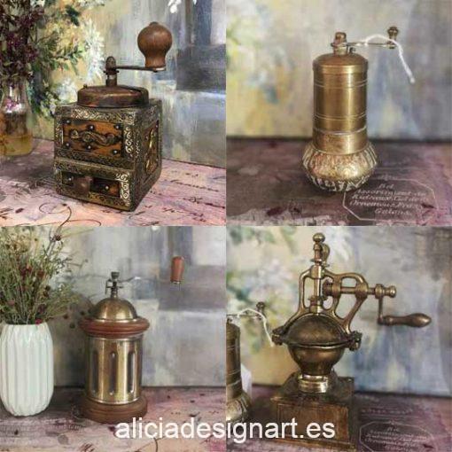 Lote de 4 molinillo de café antiguos para decorar tus espacios - Taller decoración de muebles antiguos Madrid estilo Shabby Chic, Provenzal, Romántico, Nórdico
