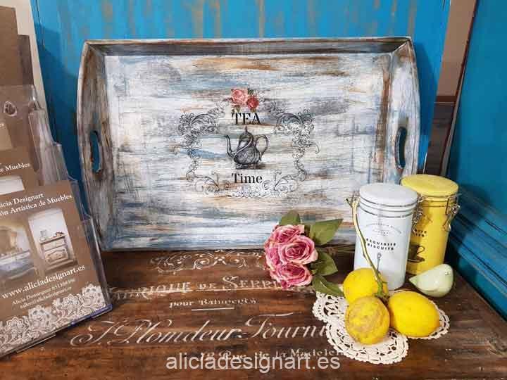 Bandeja de madera decorada estilo Shabby Chic con transfer Tea Time - Taller decoración de muebles antiguos Madrid estilo Shabby Chic, Provenzal, Romántico, Nórdico