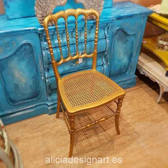 Silla antigua estilo Napoleón decorada en dorado - Taller de decoración de muebles antiguos Madrid estilo Shabby Chic, Provenzal, Romántico, Nórdico