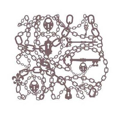 Plantilla de stencil estarcido cadenas con candados de Cadence Shadow KS118 - Taller decoración de muebles antiguos Madrid estilo Shabby Chic, Provenzal, Romántico, Nórdico