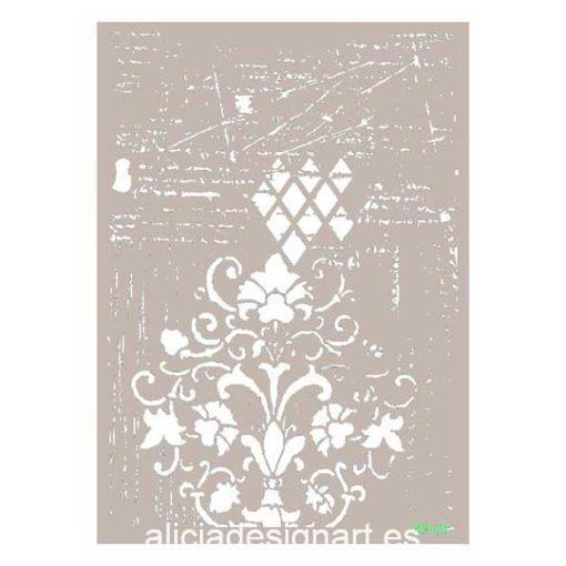 Plantilla de stencil estarcido Mix Media con rombos y flores MA068 de Cadence - Taller decoración de muebles antiguos Madrid estilo Shabby Chic, Provenzal, Romántico, Nórdico