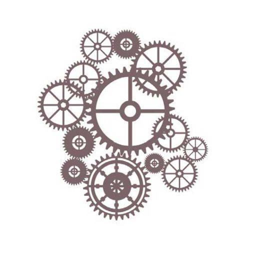 Plantilla de stencil estarcido ruedas y engranajes de Cadence Shadow KS116 - Taller decoración de muebles antiguos Madrid estilo Shabby Chic, Provenzal, Romántico, Nórdico