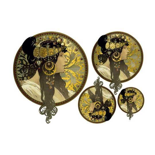 Papel de arroz Art Nouveau y detalles en pan de oro de Cadence ref ORO002 - Taller decoración de muebles antiguos Madrid estilo Shabby Chic, Provenzal, Romántico, Nórdico