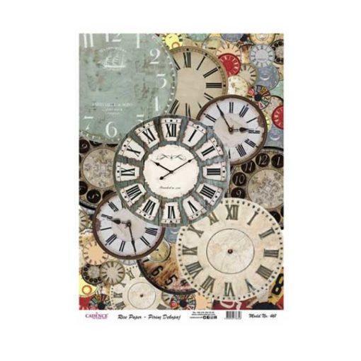 Papel de arroz esferas de relojes de Cadence ref PA461 - Taller decoración de muebles antiguos Madrid estilo Shabby Chic, Provenzal, Romántico, Nórdico