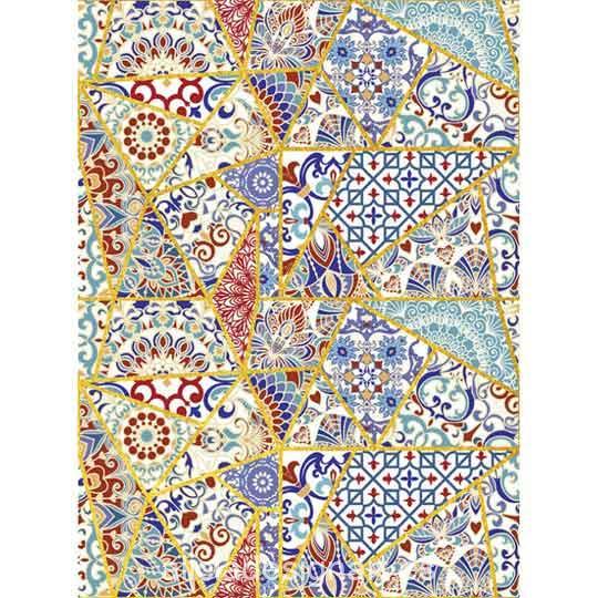 Papel de arroz Ethnic 41 con detalles en pan de oro de Cadence ref PPO41 - Taller decoración de muebles antiguos Madrid estilo Shabby Chic, Provenzal, Romántico, Nórdico