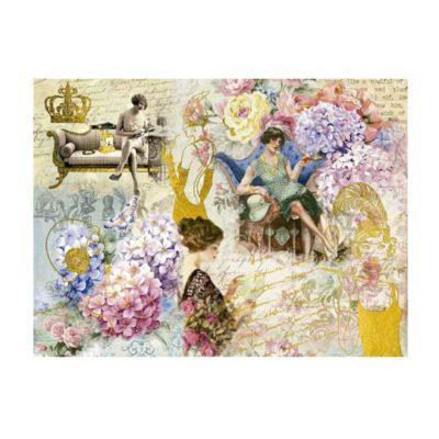 Papel de arroz flapper y detalles en pan de oro de Cadence ref ORO005 - Taller decoración de muebles antiguos Madrid estilo Shabby Chic, Provenzal, Romántico, Nórdico