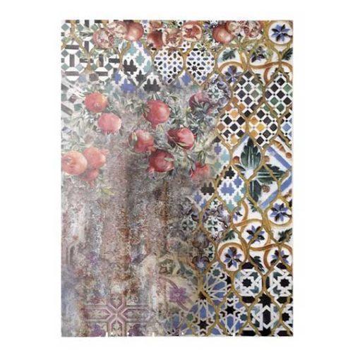 Papel de arroz collage con granadas de Cadence ref PA661 - Taller decoración de muebles antiguos Madrid estilo Shabby Chic, Provenzal, Romántico, Nórdico