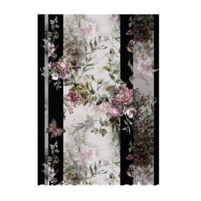 Papel de arroz flores sobre franjas negras de Cadence ref PA599 - Taller decoración de muebles antiguos Madrid estilo Shabby Chic, Provenzal, Romántico, Nórdico