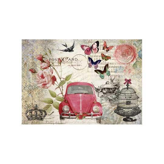 Papel de arroz Coche Rojo de Cadence ref PA637 - Taller decoración de muebles antiguos Madrid estilo Shabby Chic, Provenzal, Romántico, Nórdico