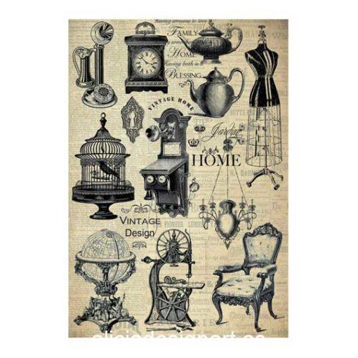 Papel de arroz Home Vintage Design de Cadence ref PA210 - Taller decoración de muebles antiguos Madrid estilo Shabby Chic, Provenzal, Romántico, Nórdico