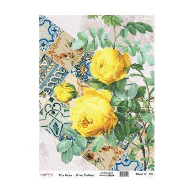 Papel de arroz collage flores amarillas sobre fondo cerámica de Cadence ref PA736 - Taller decoración de muebles antiguos Madrid estilo Shabby Chic, Provenzal, Romántico, Nórdico
