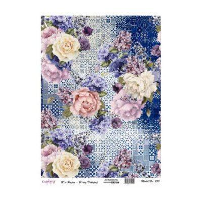 Papel de arroz collage flores azules sobre fondo cerámica de Cadence ref PA738 - Taller decoración de muebles antiguos Madrid estilo Shabby Chic, Provenzal, Romántico, Nórdico