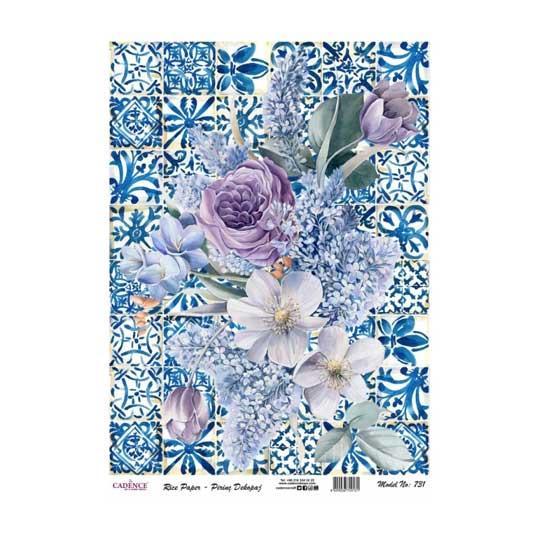 Papel de arroz collage flores azules sobre fondo cerámica de Cadence ref PA731 - Taller decoración de muebles antiguos Madrid estilo Shabby Chic, Provenzal, Romántico, Nórdico