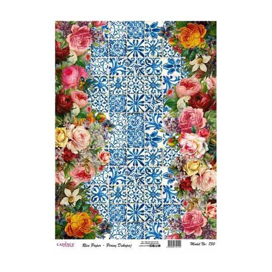 Papel de arroz collage flores sobre fondo cerámica de Cadence ref PA730 - Taller decoración de muebles antiguos Madrid estilo Shabby Chic, Provenzal, Romántico, Nórdico