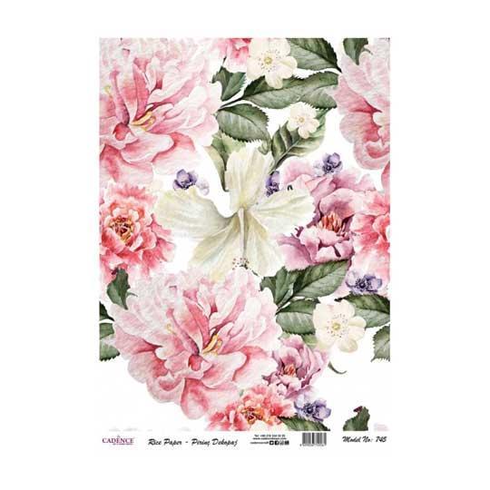 Papel de arroz collage de flores sobre fondo blanco de Cadence ref PA745 - Taller decoración de muebles antiguos Madrid estilo Shabby Chic, Provenzal, Romántico, Nórdico