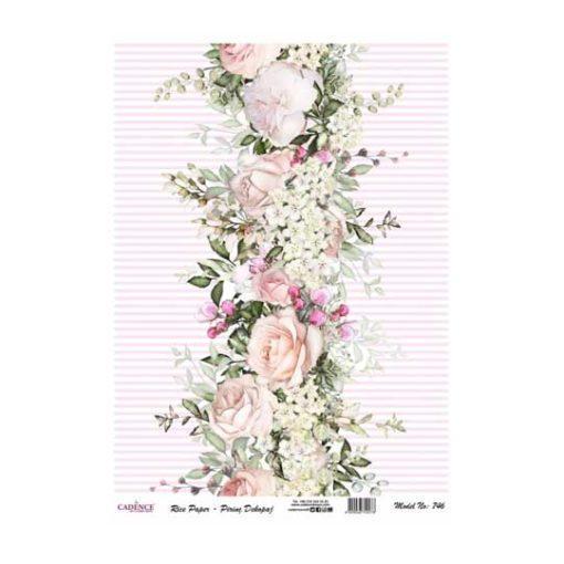 Papel de arroz collage flores sobre lineas rosas de Cadence ref PA746 - Taller decoración de muebles antiguos Madrid estilo Shabby Chic, Provenzal, Romántico, Nórdico
