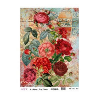 Papel de arroz collage flores rojas de Cadence ref PA737 - Taller decoración de muebles antiguos Madrid estilo Shabby Chic, Provenzal, Romántico, Nórdico